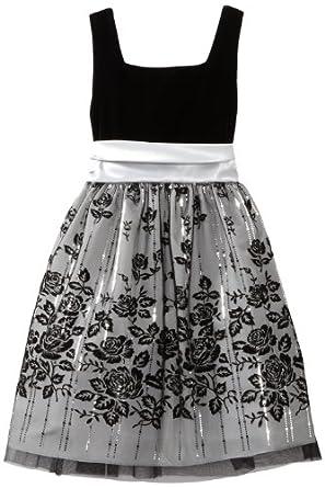 Rare Editions Big Girls' Velvet Glitter Border Dress, Black/Silver, 8