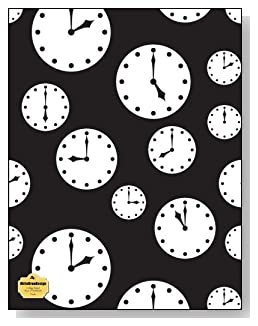 Clocks Notebook - Tick tock! Black and white clocks set at different times make a dramatic cover for this college ruled notebook.