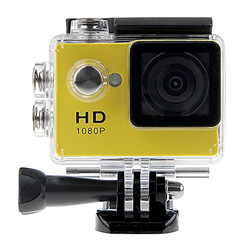 Padgene Full HD 1080P Sport Videokamera Camera Camcorder Action DVR Outdoor Wasserdichte Hülle (Gelb)