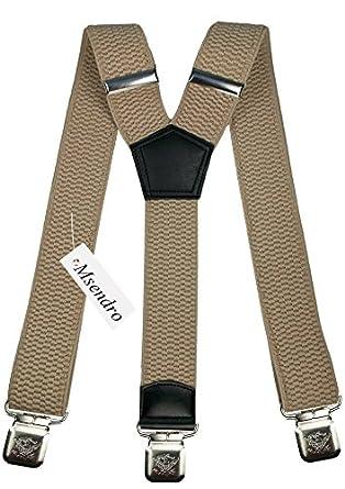 Bretelles Y entièrement réglable pour Homme Femme 4 cm avec 3 clips élastique Solide Casual Pantalon Jeans Différentes couleurs Noir, Marron, Bleu (Beige Clair)
