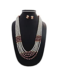 Nisa Pearls Traditional Pearls Necklace Set Adorned With CZ And Green And Red Color Stones - B00S1H5DJC