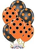"""Pioneer Balloon Company 50 Count Big Polka Dots Latex Balloon, 11"""", Orange/Black"""