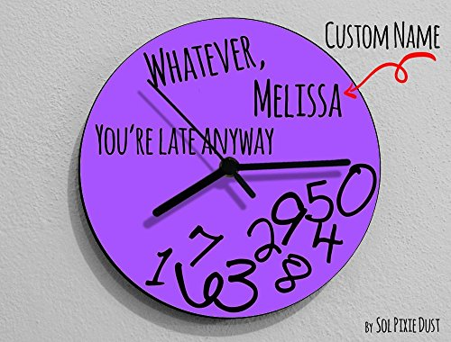 Custom Name Whatever, Whatever, you're late anyway / Round Purple - Wall Clock