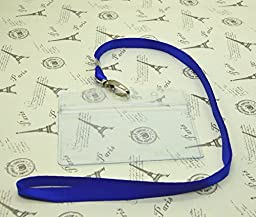 50 Pcs digi-hunter Clear Plastic Horizontal Name Tag Badge Id Card +50 Pcs Blue Lanyard
