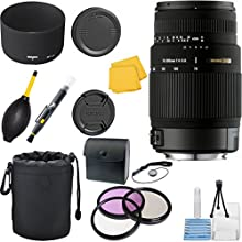 Sigma 70-300mm f4-56 DG Macro Telephoto Zoom CT Lens Bundle for Canon SL RCameras