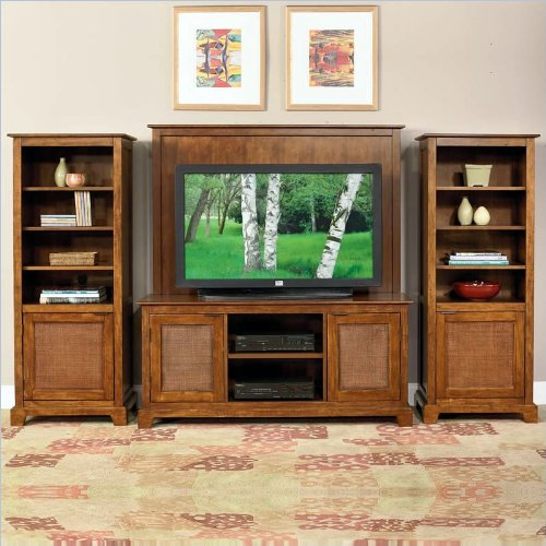 Home Styles Furniture Jamaican Bay 4-Piece Wood Entertainment Set in Soft Mahogany Finish