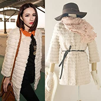 Details about Women Collarless Faux Rabbit Fur Jackets Coat Fashion Warm Wint...