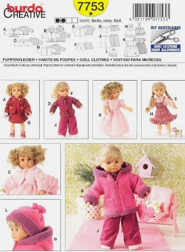 """Burda 7753 ~ Doll Clothes Sewing Pattern ~ (12""""14"""") - (16""""-18"""") front-51540"""