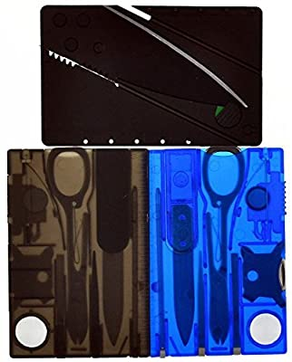 2-Pk Multi-Function Swiss Army Knife Credit Card Size Pocket Tool by One Planet, Thin & Light, Great Survival Essential For Outdoor Camping, Comes in Blue & Black w/ Bonus Credit Card Knife, Buy Now! from One Planet Products