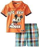 Disney Baby-Boys Infant 2 Piece Mickey Mouse Jersey Polo Set, Orange, 12 Months