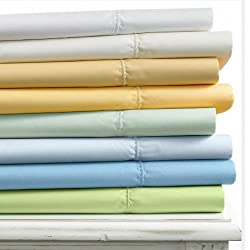 Martha Stewart Diamond Stitch 400T Aqua Ice King Fitted Sheet