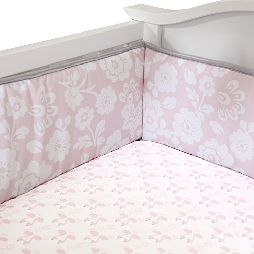 Lambs & Ivy Swan Lake Crib Bumper, Pink/White/Grey