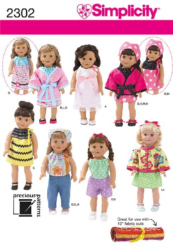 Simplicity Sewing Pattern 2302 Doll Clothes, One Size