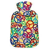 Warm Tradition Peace Signs Cotton Flannel Hot Water Bottle - Made in Germany