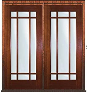 Pre Hung French Double Door 80 Mahogany 9 Lite Marginal Tdl Glass 6 2 Entry Doors