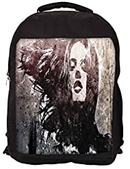 Snoogg Biker Grunge Chic Backpack Rucksack School Travel Unisex Casual Canvas Bag Bookbag Satchel