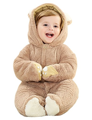 HappyCherry Baby Boys Girls Infant Cute Bear Winter Warm Outfits Snowsuit Romper