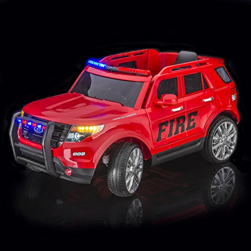 SPORTrax Ford Explorer Style Fire Kid's Ride On Fire Truck, Battery Powered, Remote Control, w/FREE MP3 Player - Red (Powerwheels Trucks compare prices)