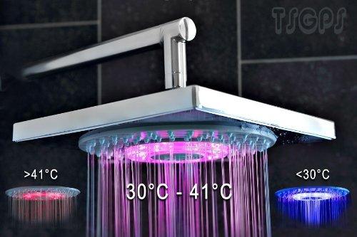 Sanlingo LED Regendusche mit Farbwechsel Kein Stromanschluss notwendig.