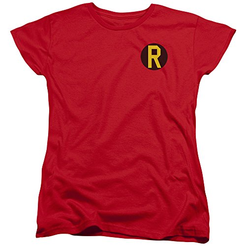 Batman DC Comics Superhero Robin Costume R Logo Women's T-Shirt Tee