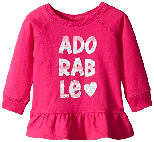The Children's Place Baby-Girls Long Sleeve Active Peplum Top, Aurora Pink, 12-18 Months
