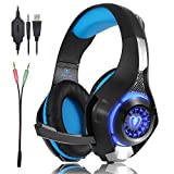 Beexcellent GM-1 Gaming Headset for PS4 Xbox one PC, Beexcellent Stereo Sound Over Ear Headphones with Noise Isolation Mic Volume Control and LED Light for Laptop Mac iPad Smartphone (Color: Black-blue, Tamaño: Headphone size: Approx. 95*215*205mm/ 3.7*8.5*8.1i)