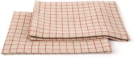 LinenMe Gingham X2 Tea Towels 17 by 27-Inch NaturalRed