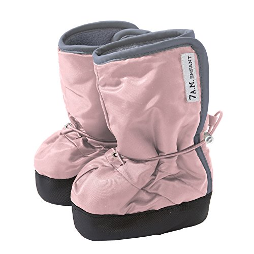 7AM Enfant 500 Soft -Soled Booties, Water Repellent Insulated and Quilted - Rose/Grey, Large
