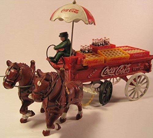 Vintage Coca Cola Collectible, Cast-Iron, Horse-Drawn Coca Cola Wagon, 13 Inches