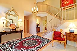 Paterson Collection Color Dark Red Traditional Oriental Medallion Design Area Rug (8\'2\