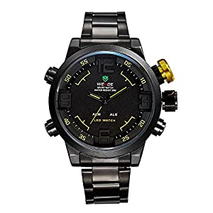 Mens LED Watch Dual Time Date Day Black Sport Military Metal Band Yellow Hands WH-154