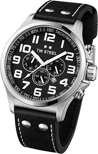 TW Steel TW-413 - Reloj unisex de piel de becerro negro Resistente al agua árabe negro