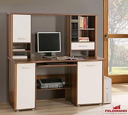 Schreibtisch PC Tisch 62419 walnuss / weiß 155cm