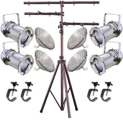 4 Silver PAR CAN 64 1000w PAR64 NSP C-Clamps Stand a traditional par64 sealed bubble bulb 1000w cp60 stage lighting par