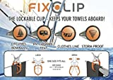 FIXCLIP - 6-Pack, The Storm-Proof & Lockable Clip - Keeps your towels aboard! Clothespins for Boats-Bowrails-Lifelines-RVs-Caravans-Tents-Tarps-Camping-Fishing-Balconies-Hangers-Strollers-Lounger