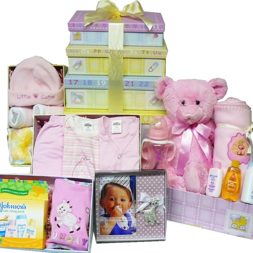 Art of Appreciation Gift Baskets Welcome Little One Layette Gift Tower for Girl