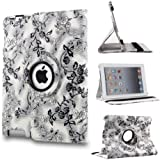 360 Degrees Rotating Stand (Black & White Vine Flower) Luxury Leather Case +LCD Screen Protector+Stylus for Apple iPad 2/3/4 with Smart Cover Wake / Sleep Function