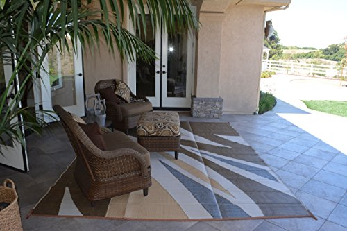 Patio Furniture Rug Brown/Beige Wave Backyard Patio Mat Outdoor Reversible Rug (9' x 12')