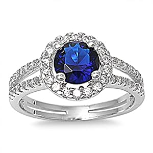 Sterling Silver Cubic Zirconia Ring - Size J 1/2