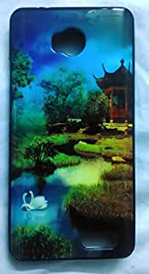 Premium Soft Fancy Back Cover For Micromax Canvas Juice 4 Q382 - SWAN Design