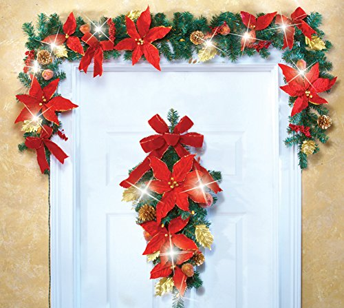 Led Lighted Holiday Poinsettia & Ribbon Floral Decor Garland