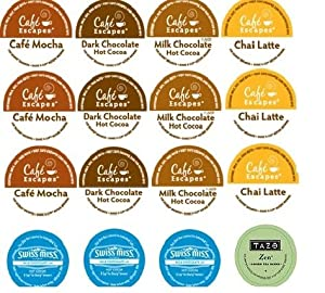 16 Pack - Variety Hot Chocolate Cocoa Chai Latte Sampler K-cup For Keurig Brewers - Cafe Escape Swiss Miss