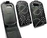FLASH SUPERSTORE SAMSUNG C3510 GENOA DIAMANTE PREMIUM BLACK FLIP CASE/COVER WITH BUILT IN PHONE HOLDER