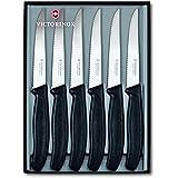Victorinox 6.7233.6G Coffret de 6 Couteaux Steak Swiss Classic Manche Noir Acier 18/10