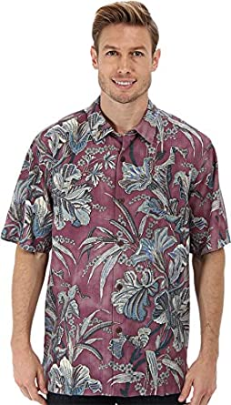 Tommy Bahama Men's Botanica Bay S/S Camp Shirt Deep Rose Button-up Shirt XL