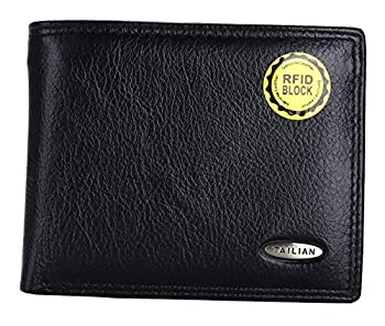 07. TAILIAN Fashion Men's Royal Genuine Leather RFID Blocking Secure Wallet Pockets