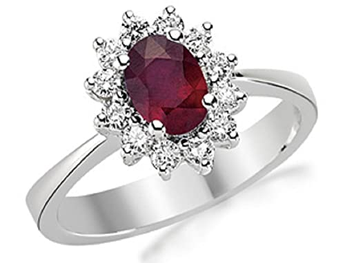 1.31 Carats 18k Solid White Gold Ruby and Diamond Engagement Wedding Bridal Promise Ring Band