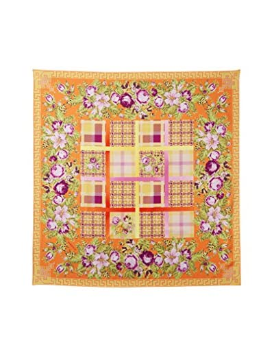 Versace Women's Patchwork Silk Scarf, Patchwork Orange Floral