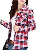 (アリルチョウ) Aguilucho チェック シャツ レディース 長袖 胸元 ポケット 付き L レッド