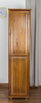 Tall Narrow 1 Door Wardrobe Tallboy 003, solid pine wood, oak finish - H190 x W47 x D60 cm